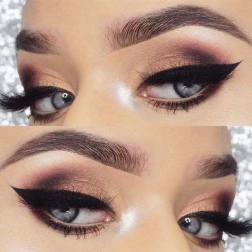 Gray And Gold Smokey Eyes Makeup For Blue Eyes #boldeyeliner
