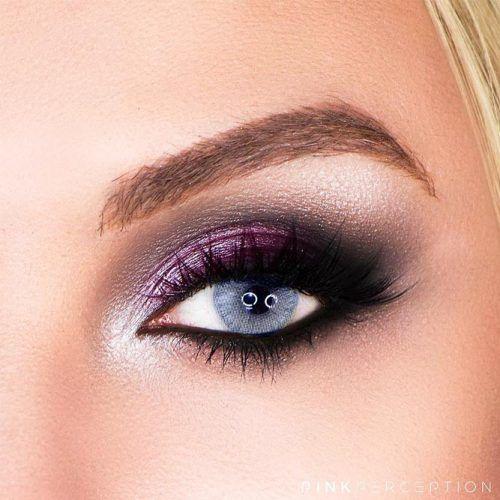 Purple And Black Smokey Eyes Makeup For Blue Eyes #purplesmokey