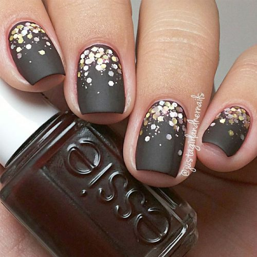 Glitter Matte Black Nails picture1
