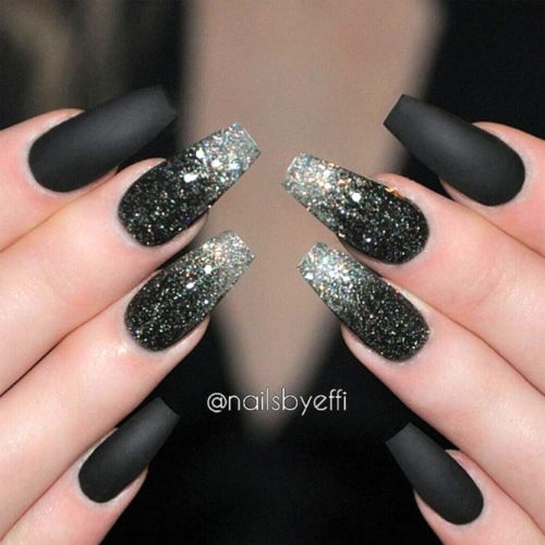 Glitter Matte Black Nails picture2