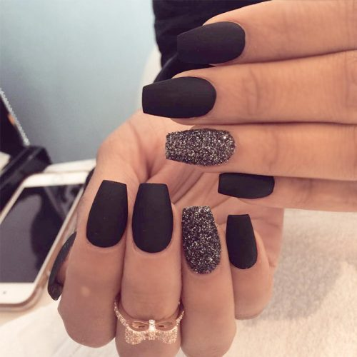 Glitter Matte Black Nails picture3
