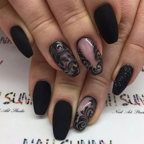 Patterned Matte Black Nails picture 1