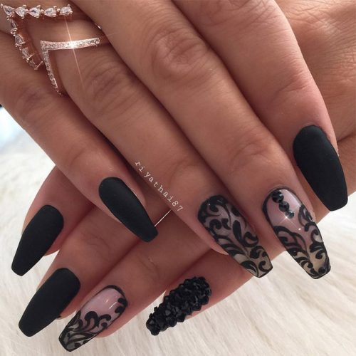 Patterned Matte Black Nails picture 3