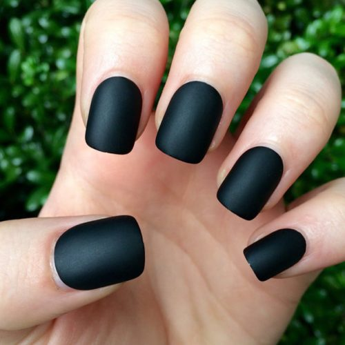 Cute Black Matte Nails picture 3