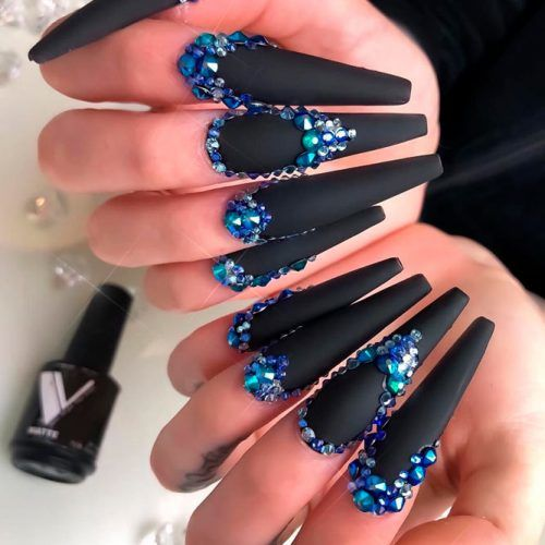 Long Coffins With Blue Rhinestones #longnails #rhinestonesnails