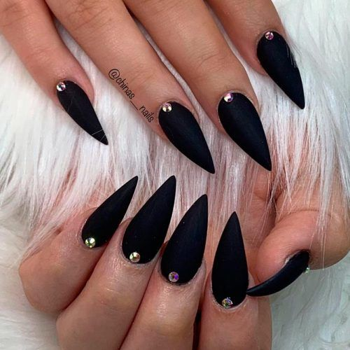 Simple Black Nails With Rhinestones #stilettonails #rhinestonesnails