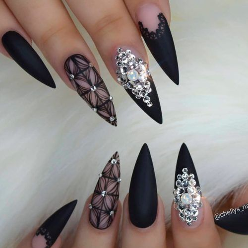 Patterned Black Nails With Rhinestones #rhinestonesnails #patternednails