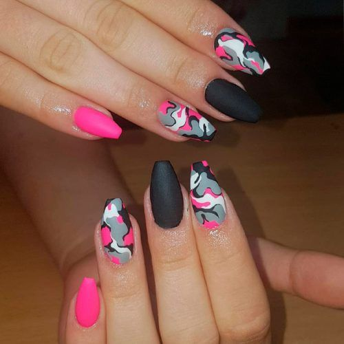 Black And Pink Como Nails #comonails