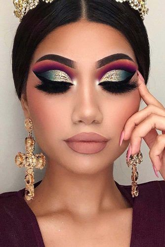 Glitter Cut Crease Prom Makeup Idea #cutcrease #nudelips