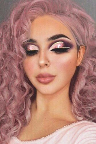 Cut Crease Glitter Prom Makeup Idea #cutcrease