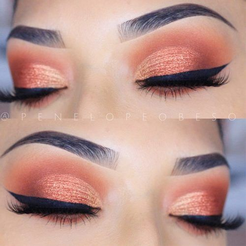 Peach Eyes Makeup For Prom Night #peachsmokey #blackeyeliner