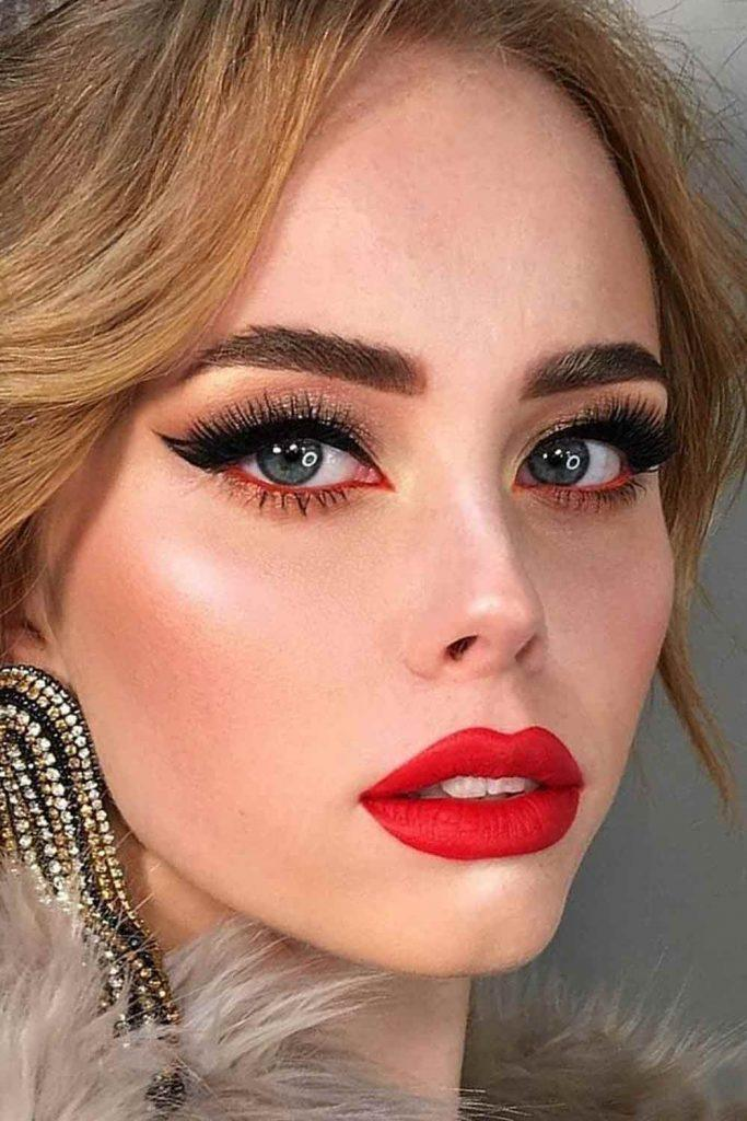 Prom Makeup Idea With Bold Eyeliner #redlipstick
