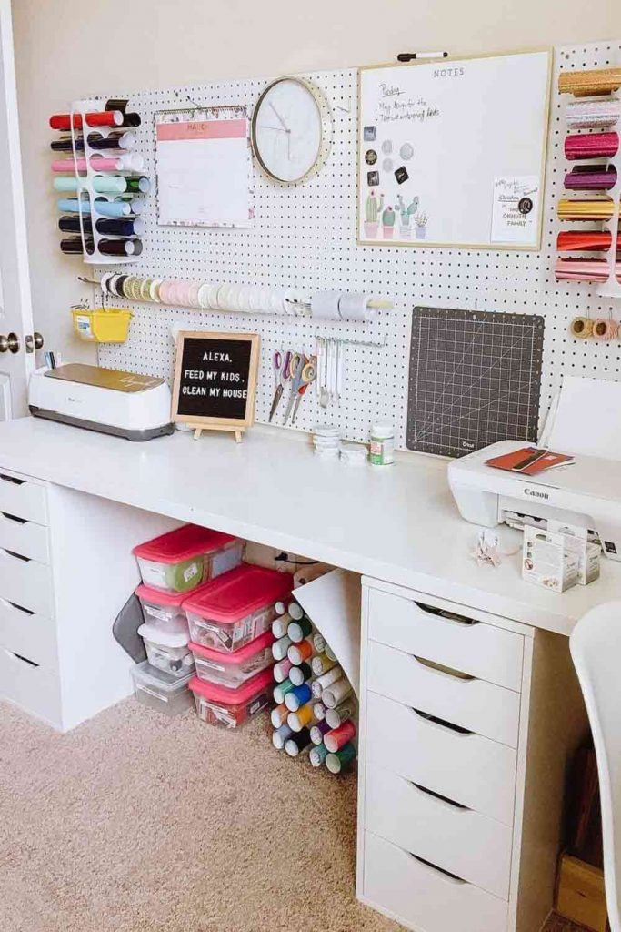 Pegboard For Customizable Storage #pegboarddesk