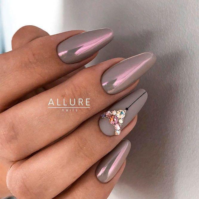 Grey Nails With Rhinestones #mattenails #rhinestonesnails