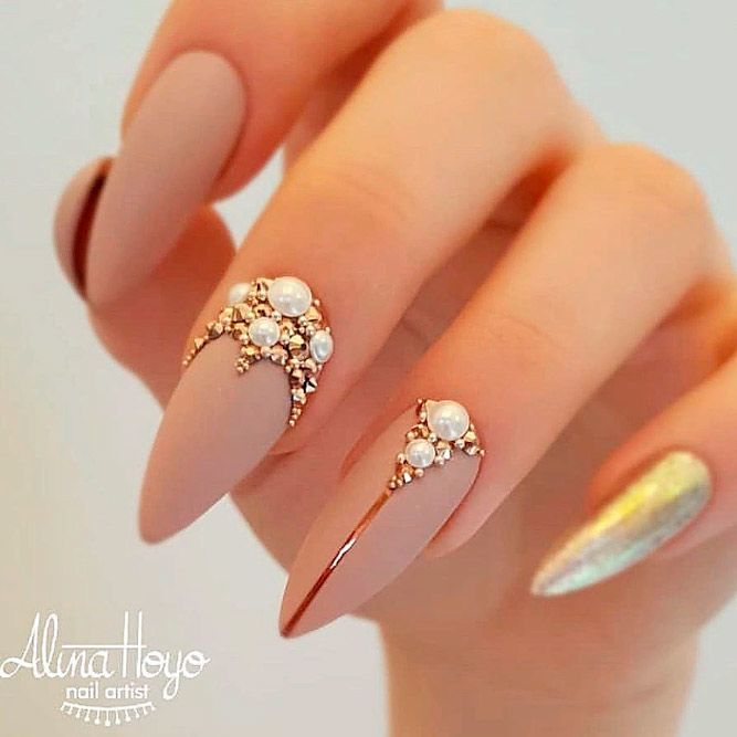 Matte Nude Nails With Gold Rhinestones $mattenails #nudenails #rhinestonesnails