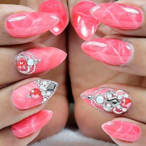Pink Marble Nails With Rhinestones #pinknails #marblenails #rhinestonesnails