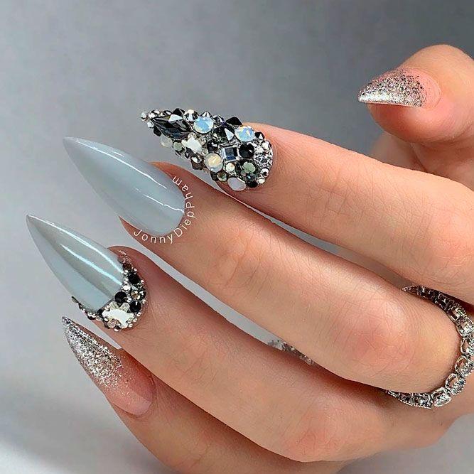 Sparkly Nail Design With Glitter And Rhinestones #rhinestonesnails #glitternails