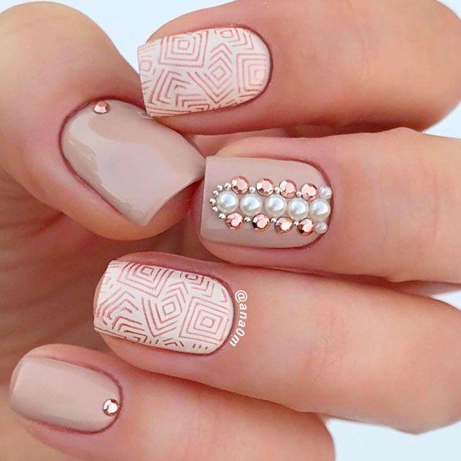 Patterned Prom Nails Art With Rhinestones #rhinestonesnails #patternednails