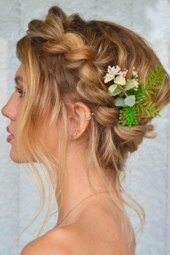 Braided Crown Hairstyle With Flowers #crownhairstyles #braidedhairstyles