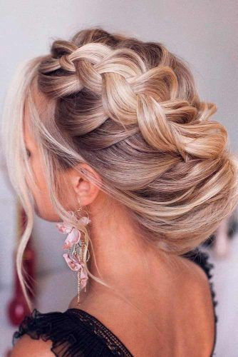 Side Swept Braided Updo #sideswepthairstyles #blondehairstyles