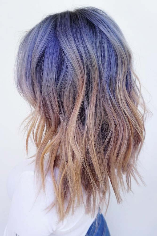 Light Brown Hair With Blue Ombre #blueombre #wavyhairstyle