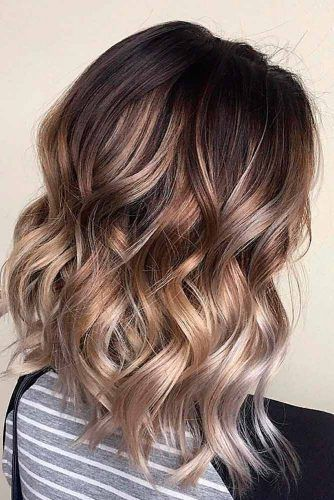 Wavy Brown Ombre For Medium Length Hair #shoulderlengthhair #ombrehair #wavyhair