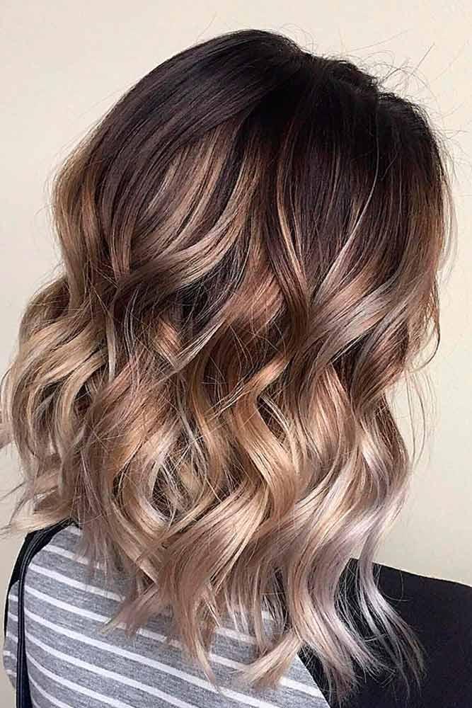 Wavy Brown Ombre For Medium Length Hair #shoulderlengthhair #ombrehair #wavyhair