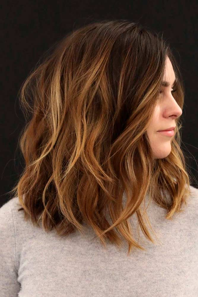 Layered Brown Ombre Hair #layeredhair #ombrehair #shoulderlengthhair