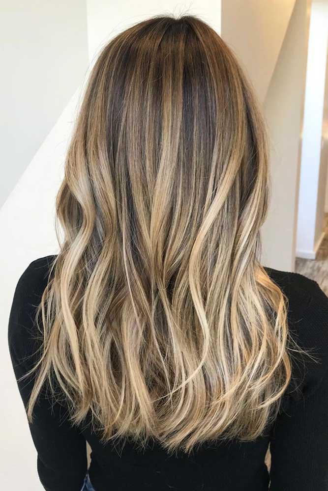Brown Hair With Bright Blonde Highlights #blondebalayage #longhair