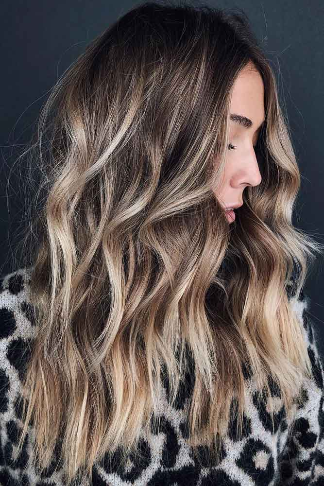 Long Hairstyles With Sandy Brown Balayage #texturedhairstyles #hairhighlights
