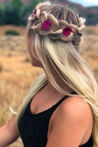 Braided Crown With Flowers #braidedhairstyles #blondehair