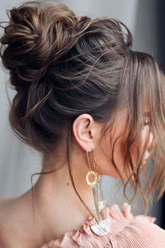 Messy Brown Updo #updohairstyles #messyhairstyles