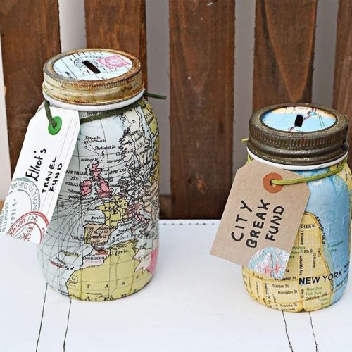 Map Money Boxes Gifts #moneybox #mapmasonjar