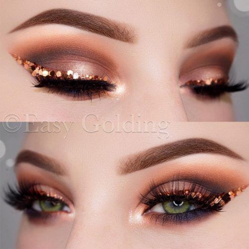 Smokey Eyes With Copper Bold Line #copperline
