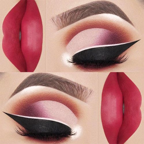 Ombre Eyes Makeup With Double Eyeliner #pinklips #mattelips