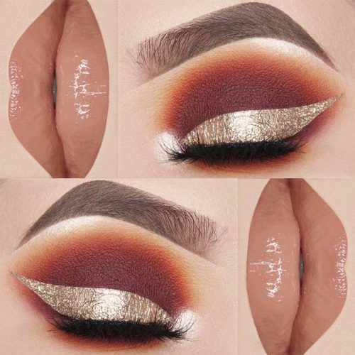 Brown Smokey With Bold Gold Line #nudelipgloss