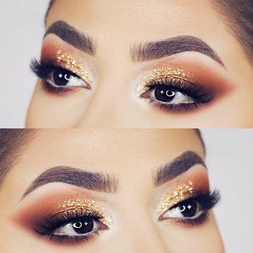 Gold Glitter Smokey Eyes Makeup #smokeyeyes
