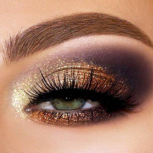 Gold And Purple Smokey Eyes Makeup #glittersmokey