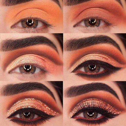 Gold Glitter Cut Crease Tutorial #cutcrease #goldglitter