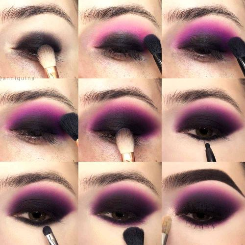 Matte Black And Violet Smokey Eyes Makeup Tutorial #mattesmokey
