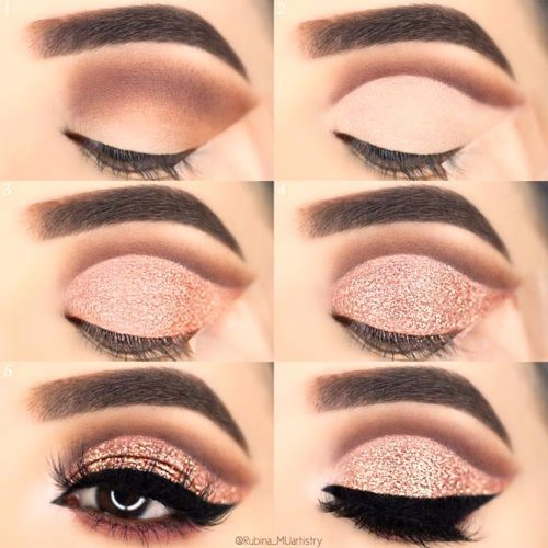 Rose Gold Cut Crease #rosegold #blackline