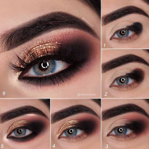 Bold Gold Smokey Makeup Tutorial #smokeyeyes #goldglitter