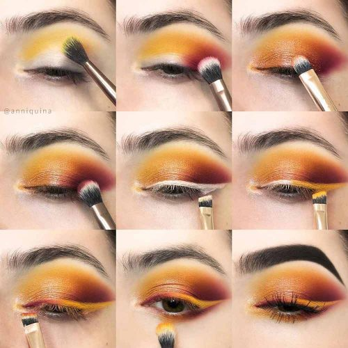 Orange Smokey Eyes Makeup #coloredeyeliner