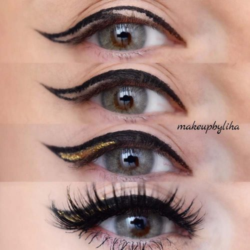 Classy Eyeliner With Gold Accent #eyelinertutorial