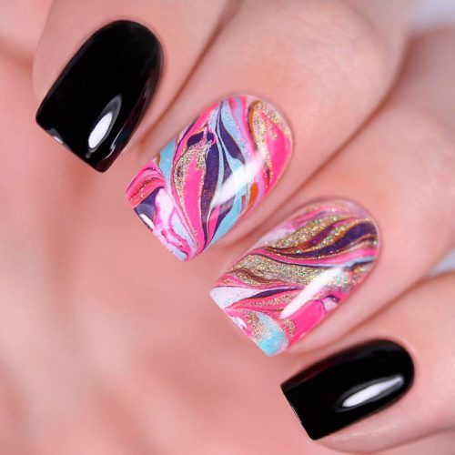 Colorful Dry Marble Nails #drymarblenails #shortnails