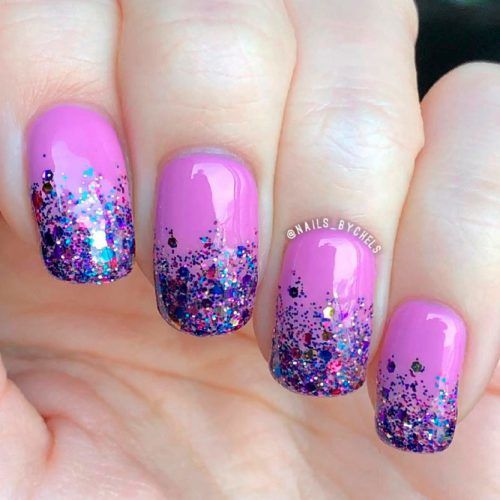Purple Glitter Ombre Nails #glitternails #purplenails
