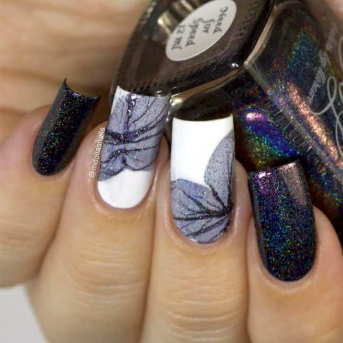Water Marble Flower Nail Art #holonails #watermarblenails