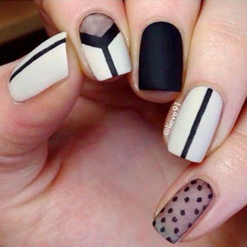 Matte Black And White Nail Art #mattenails #blacknails #shortnails