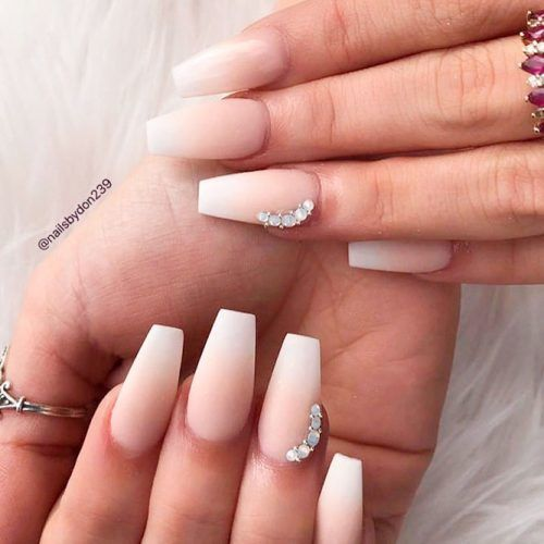 Matte French Fade Nail With Rhinestones #mattenails #frenchnails #rhinestonesnails