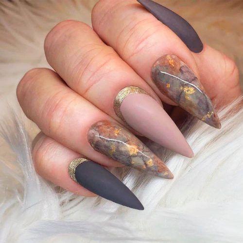 Matte Marble Nail Art Design #marblenails #glitternails #mattenails